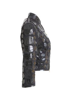 Black Spencer jacket croco black