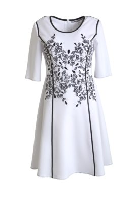 Dress, double jersey, with tiny-leaf-embroidery