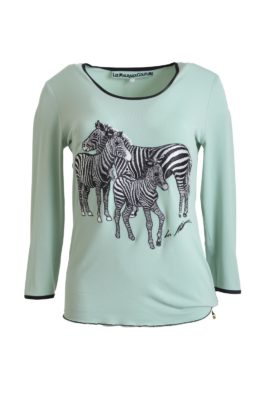 Shirt, with zebra motif short sleeves
