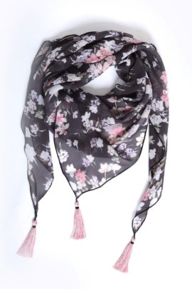 Scarf, Pure silk with 3 Madeiraquasts grey-rose