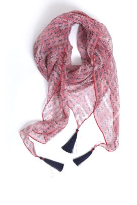 Scarf, Pure Silk with 3 Madeiraquasts red-navy