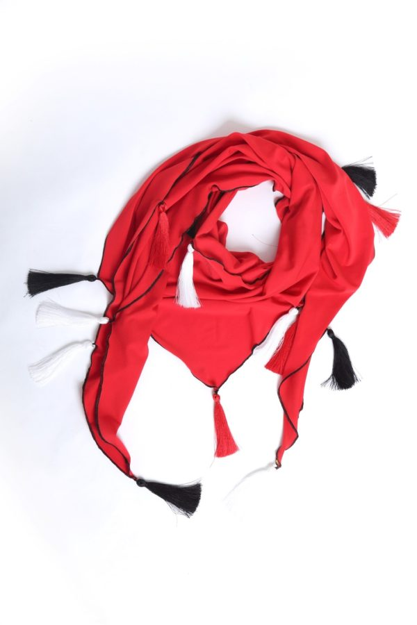 Scarf, Jersey with 17 Madeiraquasts red-black-white