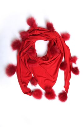 Scarf, jersey with 17 fox tassels red