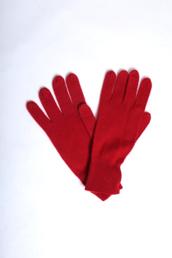 Gloves 100 % cashmere red