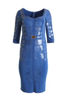 Croco dress, Patches: 150 pieces royal blue