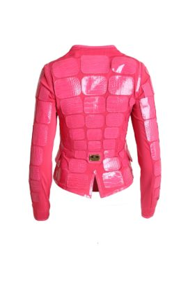 Croco jacket with hard gold plated fittings, flamingo-red