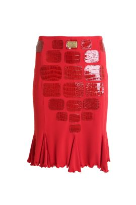 Croco skirt, red, leather and microfibre