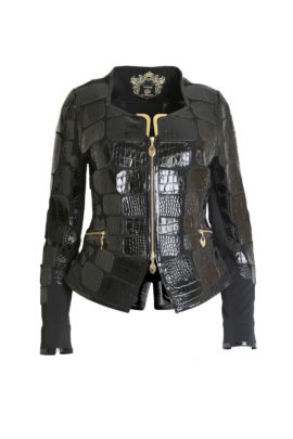 Croco jacket, with gold fittings black