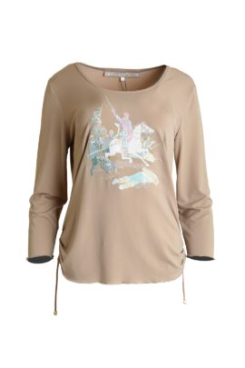 Shirt with Colonial-embroidery, long sleeve beige