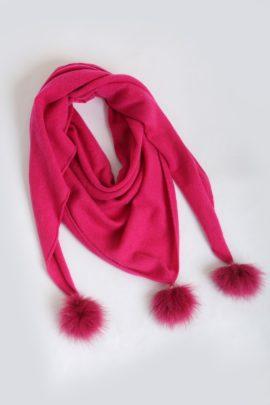 100% cashmere scarf with three red fuschsquasten