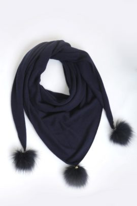 Scarf jersey with fox trimming black
