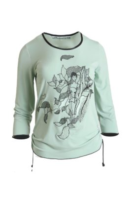 Shirt, with Art-Zoe-embroidery, light green