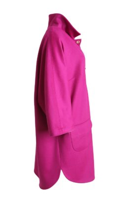 Coat with 3/4 sleeves, merino&cashmere, pink