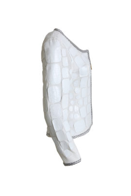 Croco jacket, white with embroidered border in black-white