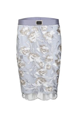 Lace skirt, silver-grey-champagne