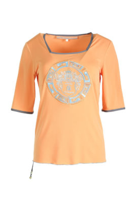 Shirt with Paisley embroidery, orange, embroidery