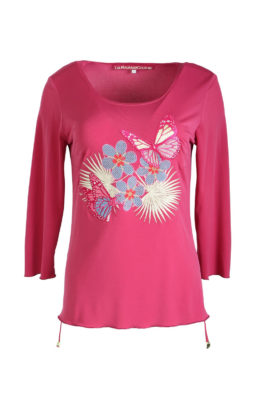 Longshirt, fuchsia, with natural embroidery