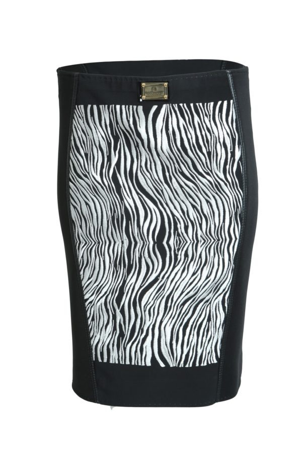 Skirt with zebra embroidery