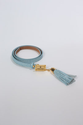 Belt Croco with leather charm, aqua