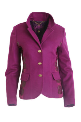 Blazer, 100% cashmere with side elastic jersey