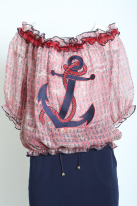Blouse Carmen Style with anchor embroidery