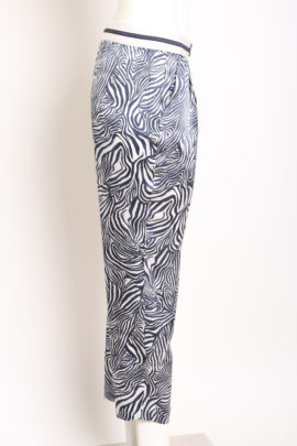 Chinohose with zebra print, pure silk