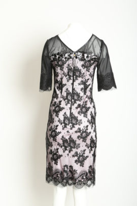 Lace dress rosenquarz with croco leather & crystals
