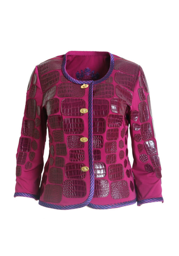 Croco jacket with mallow embroidery, purple