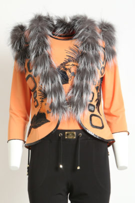 Croco vest orange with fox trim and Ara embroidery