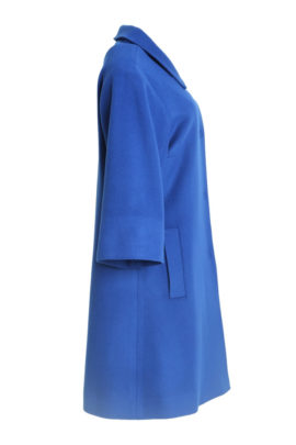 Coat royal bue, Merino-Cashmere