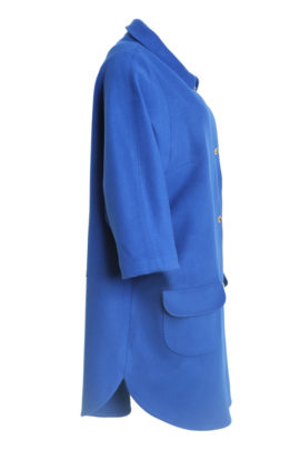 Coat, T-cut style, merino cashmere, royal blue