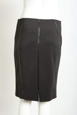Skirt, Jersey with patent, black