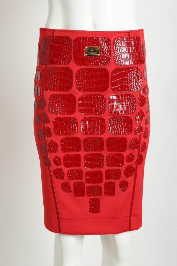 Croco skirt with multipatches, red, patches