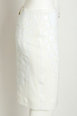 Croco skirt with multipatches, white, patches