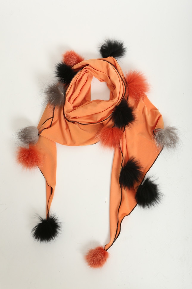 Shawl with handmade fox tossels, orange