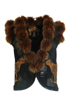 Vest with fox trimming and cheetah motif