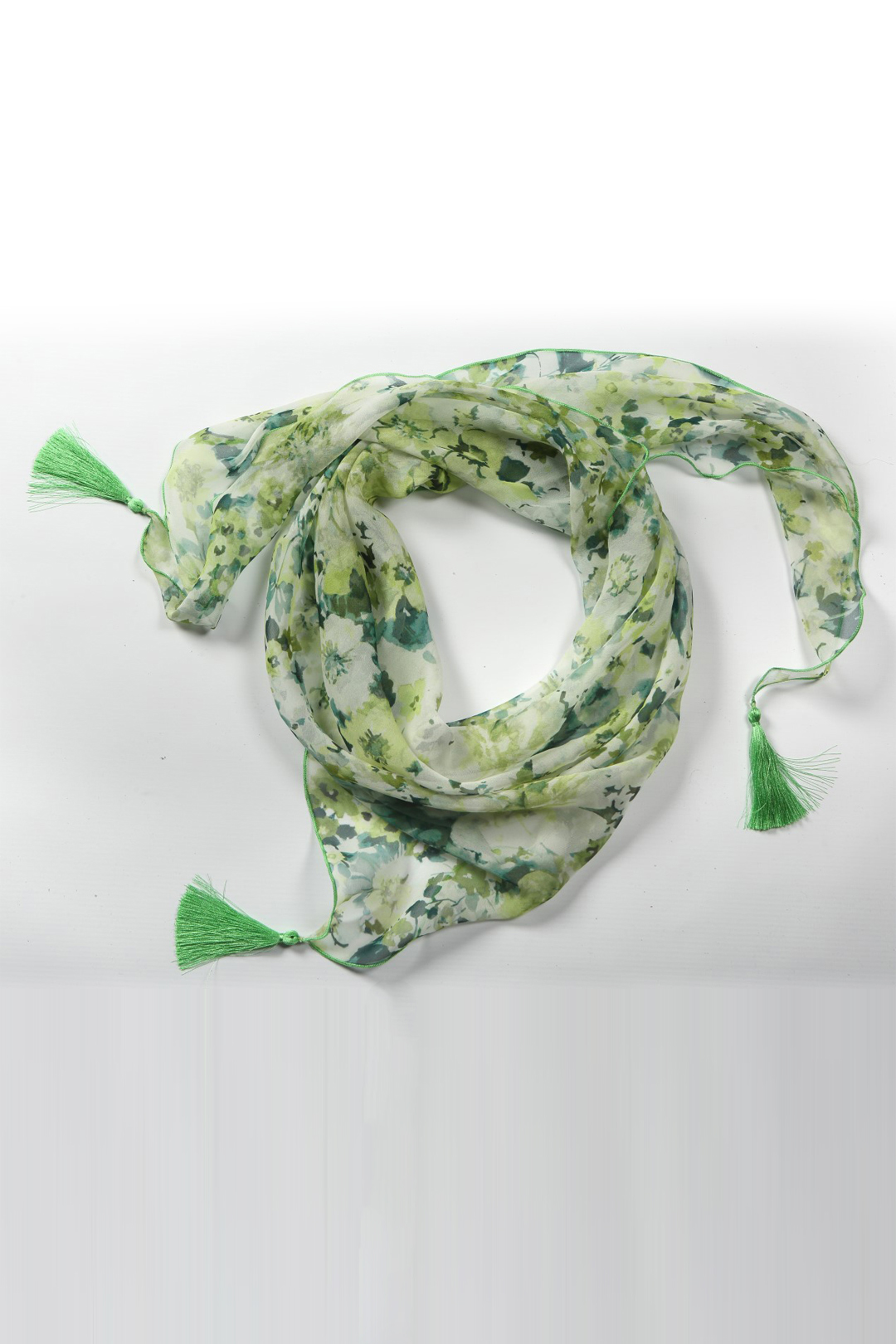 Scarf, pure silk floral print, maygreen-white