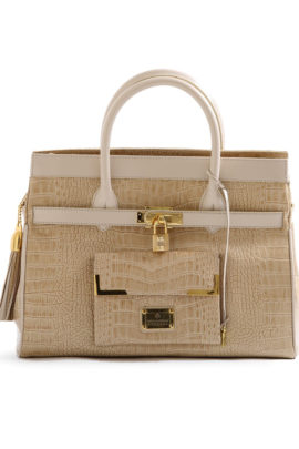 Croco bag classic style champagne