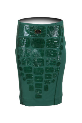 Emerald croco skirt with multipatches