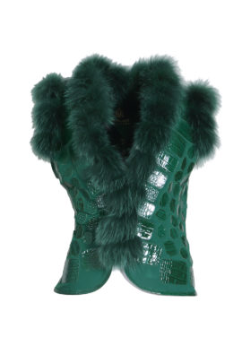 Chestnut vest with croco patches, emerald