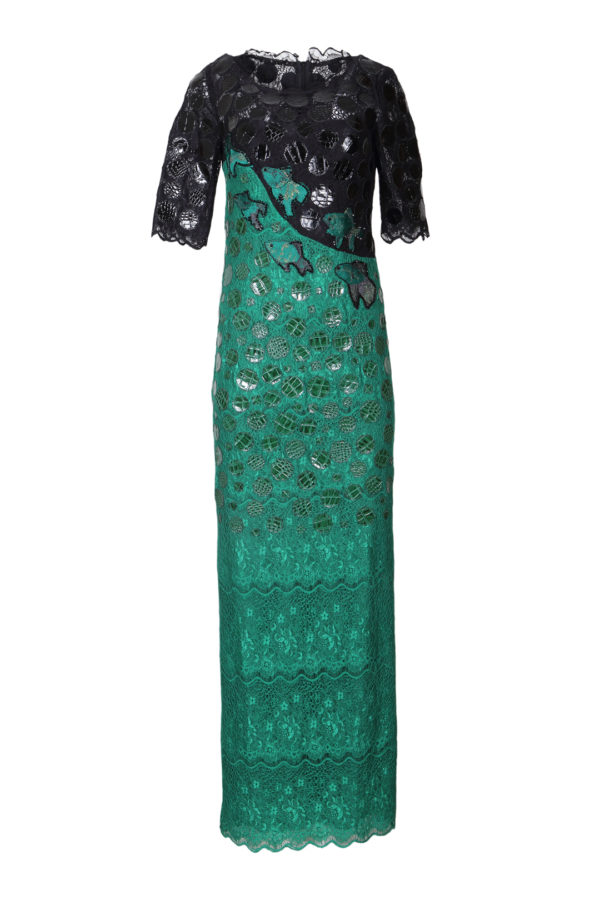 Evening dress with croco patches
