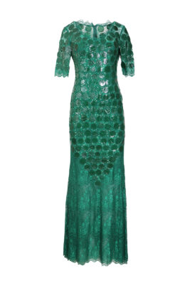 Evening dress, emerald, elastic lace with croco patches