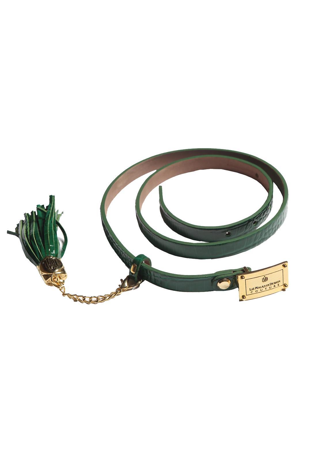 Belt croco embossed, emerald