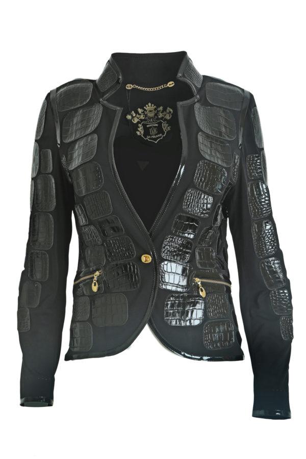 Croco jacket classic, black, single jersey