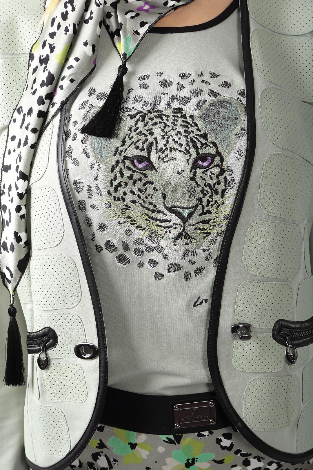Palazzo trousers jade-black-white