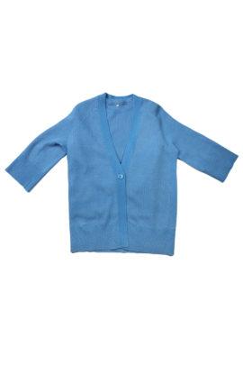 V-Cardigan long 7/8 arm cashmere/cotton azure