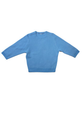 Sweater further 7/8 arm cashmere/cotton azure
