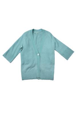 V-Cardigan long 7/8 arm cashmere/cotton mint