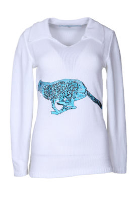 Sweater with cheetah embroidery