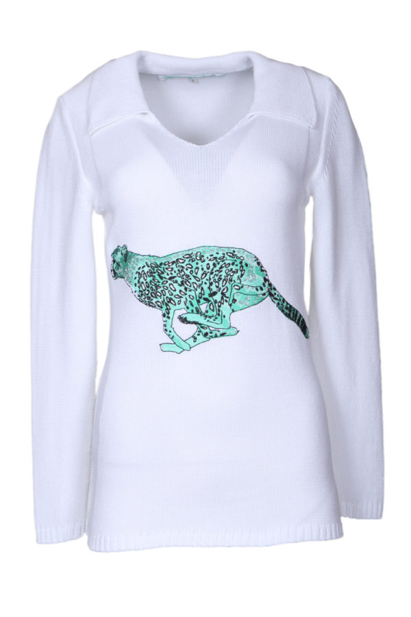 Sweater 100% cotton with cheetah-embroidery